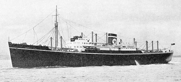 The Imperial Star, a Blue Star liner equipped with refrigerated machinery for the carriage of meat