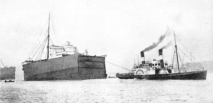 THE NEW BOW OF THE SUEVIC leaving Belfast on October 19, 1907, for Southampton