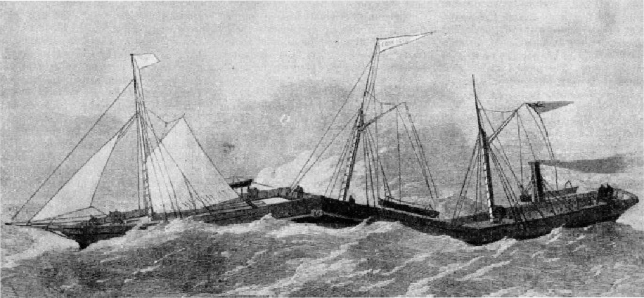 THE THREE SECTIONS of the Connector were loosely hinged together to enable the ship to ride comfortably through heavy seas