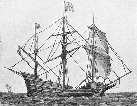 THE FIRST ENGLISH SHIP to sail round the world, Sir Francis Drake's Golden Hind