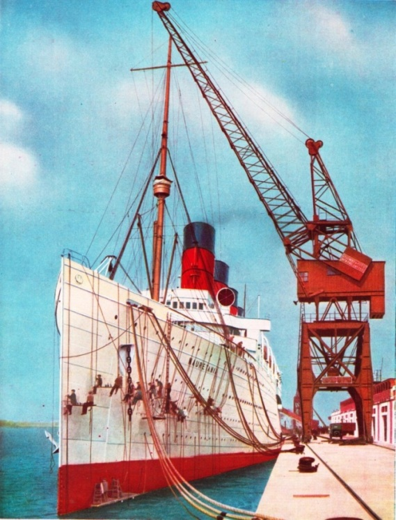 ONE OF THE MOST POPULAR TRANSATLANTIC LINERS was the Mauretania, shown being painted at Southampton