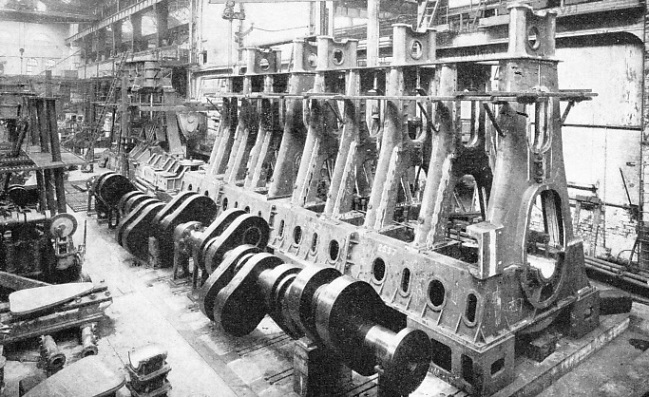 A huge diesel engine in course of construction