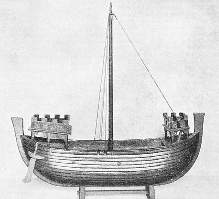 A MODEL OF A LATE THIRTEENTH-CENTURY VESSEL used to transport English crusaders to the Holy Land