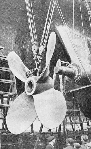 A propeller being fitted to one of the tail-shafts of the Canadian Pacific liner Empress of Australia