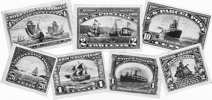 US postage stamps illustrating various types of ships