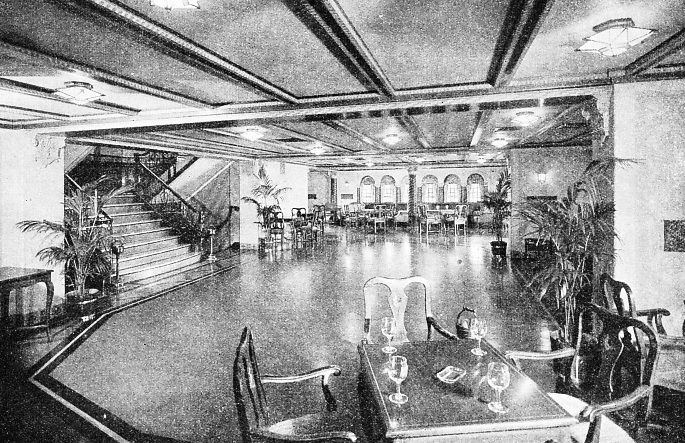 The veranda café of the Washington situated aft on the promenade deck