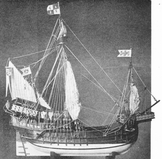 A beautiful model of Columbus's ship the Santa Maria, made by Mr. E. V. Michael