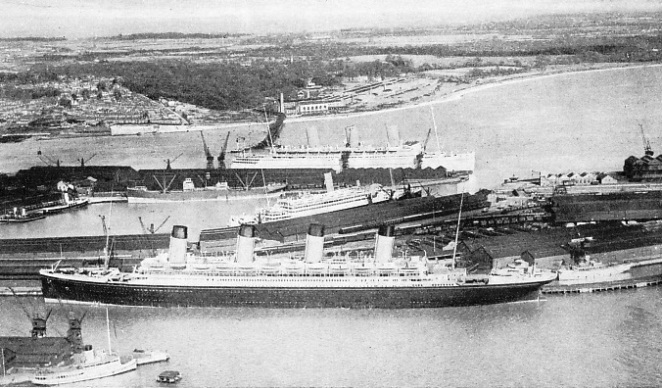 The Olympic and the Empress of Britain at Southampton docks