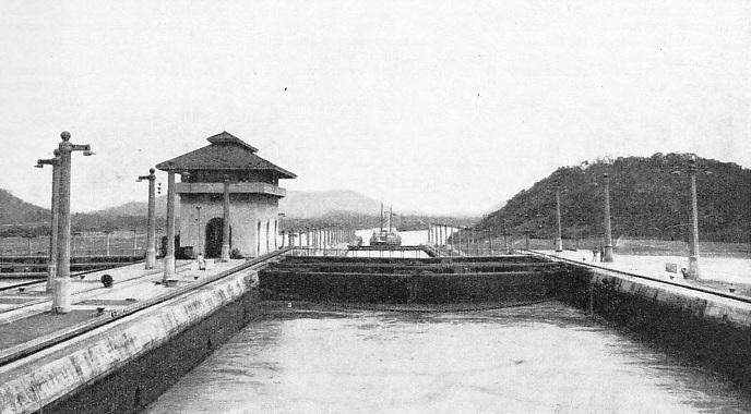 LOOKING SOUTH from the upper lock at Miraflores on the Panama Canal