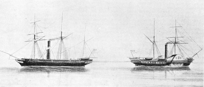 TUG-OF-WAR between a paddle steamer and a screw-propelled steamer to decide the more effective method of propulsion
