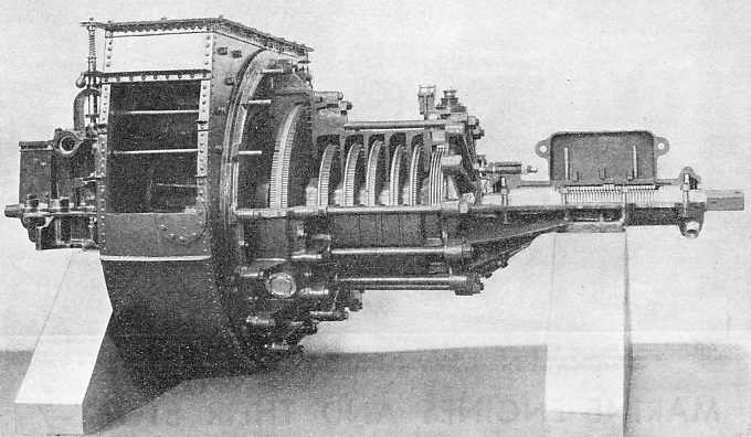 THE ORIGINAL TURBINE ENGINE of the steamship Turbinia