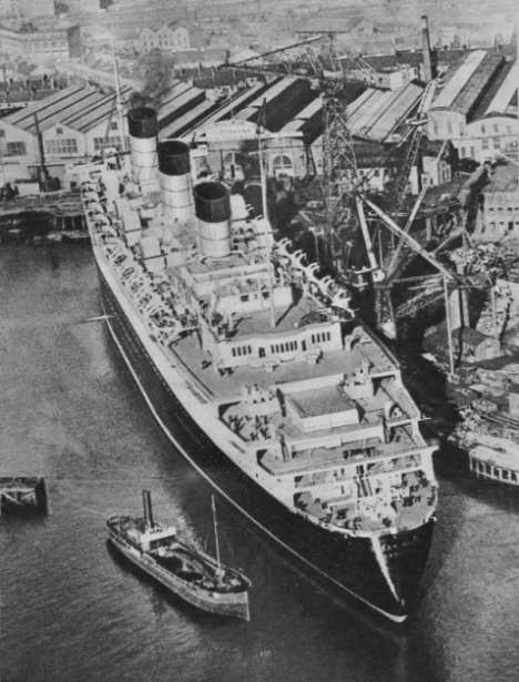 "The ""Queen Mary"" in the fitting-out basin at Clydebank"