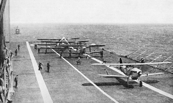 READY TO TAKE OFF from the flight deck of H.M.S. Courageous