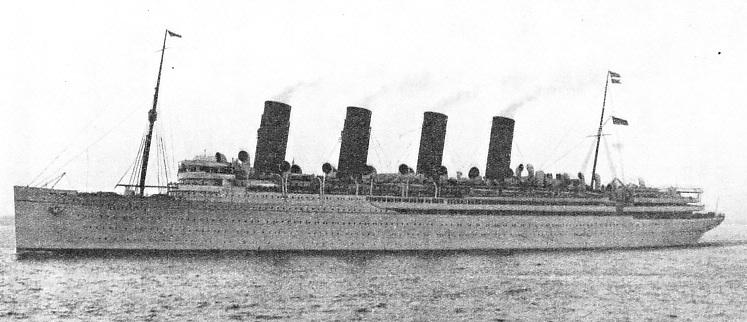THE GRACEFUL LINES OF THE FAMOUS OCEAN GREYHOUND, the Cunard liner Mauretania