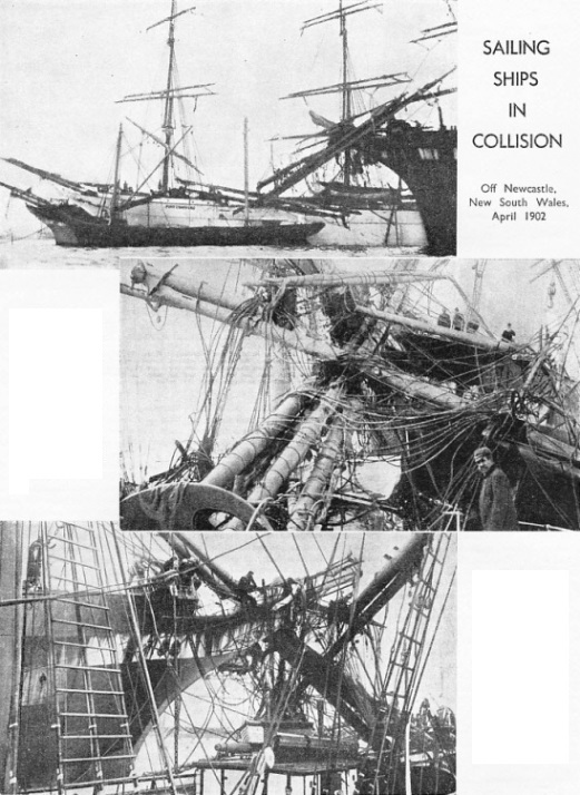 Sailing ships in collision