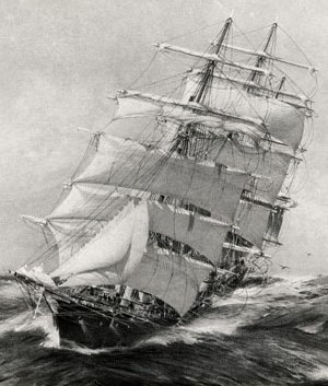 The clipper Thermopylae making her way through a heavy sea