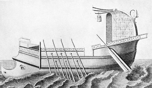 This illustration shows a rowed galley, a favourite type of vessel among Mediterranean peoples