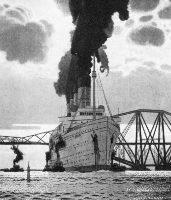 This striking impression of the Mauretania, passing the Forth Bridge on her way to Rosyth to be broken up