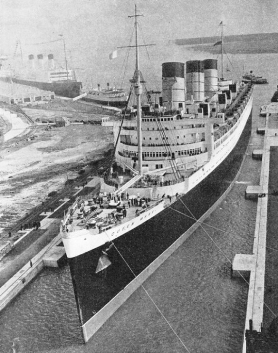 The arrival of the Cunard White Star liner Queen Mary in the King George V Graving Dock Southampton