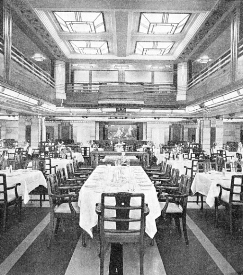 THE FIRST-CLASS DINING SALOON in the Queen of Bermuda